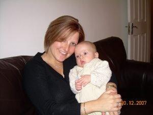 Jen with Daniel when Daniel was a baby