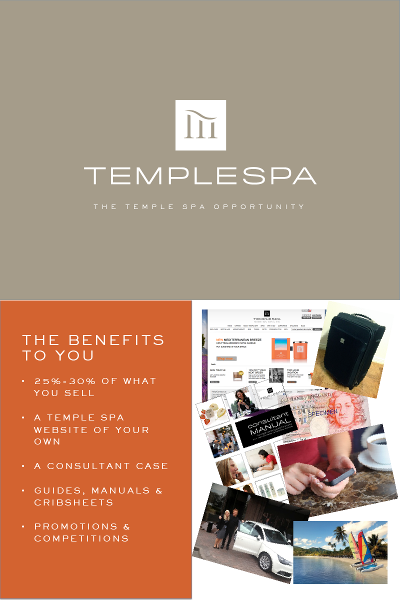 Templespa opportunity image. Explaining the benefits of being a Templespa consultant