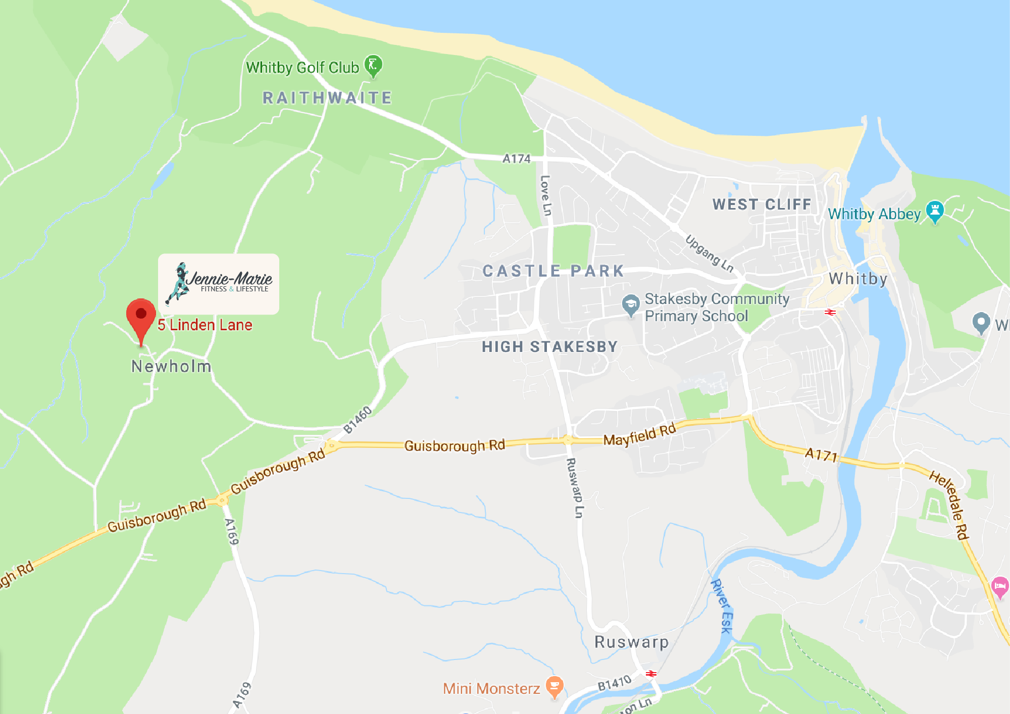 Jen Personal Trainer in Whitby map